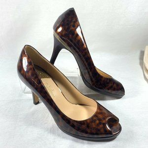 Cole Haan Patent Leather Peep Toe Pumps 8.5